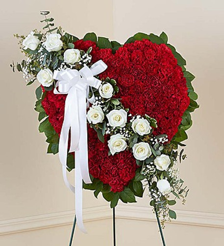 Red Solid Standing Heart with White Roses Cypress California Flower Delivery