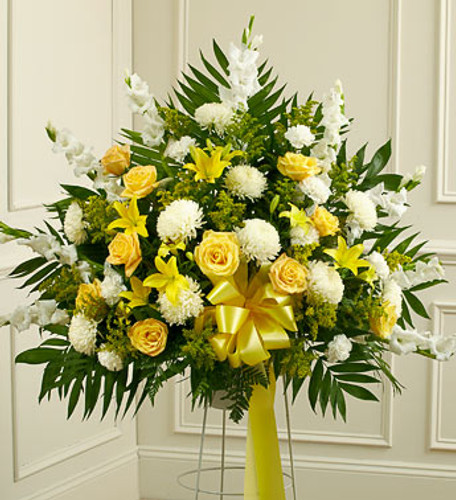 Heartfelt Sympathies Yellow Standing Basket Cypress California Florist