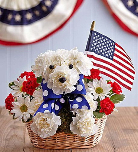 Yankee Doodle Doggie EXCLUSIVE Our patriotic pooch has a way of unleashing all-American smiles. Part of our truly original a-DOG-able collection, our prideful pup is handcrafted from fresh red and white blooms, accented with blue and white ribbon and finished with a mini American flag. It's a dog-gone great surprise for a patriotic holiday, or any celebration!