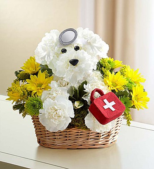 Doggie Howser M.D. EXCLUSIVE Our doggie doctor provides a sure cure for anyone feeling under the weather. And best of all, he's always willing to make house calls! Part of our signature a-DOG-able collection, this healing hound has been handcrafted from crisp white carnations, vibrant yellow daisy poms and more. Ready to brighten anyone's day, he's the perfect prescription for smiles.