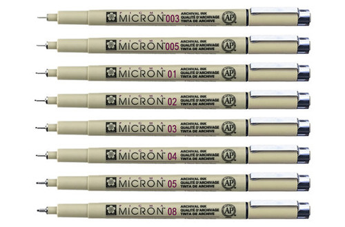 Sakura Pigma Micron pen ink marker felt tip pen, Archival pigment ink pens, line-width fine point for artist, technical drawing pens - 8 pack of Micron black