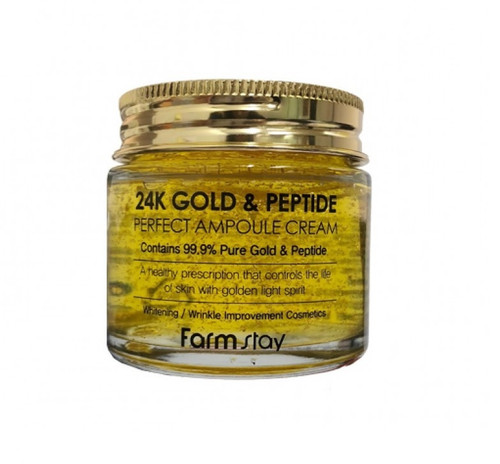 Farmstay 24K Gold & Peptide Perfect Ampoule Cream (80ml 2.70 oz) Whitening, Wrinkle Improvement