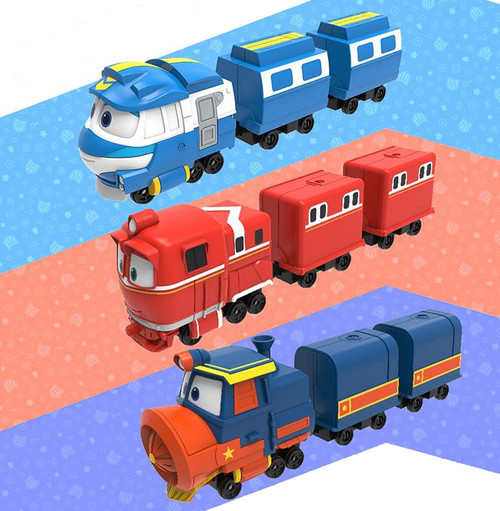 ROBOT TRAIN S2 Die Casting Deluxe Set / Korean Animation Diecast Alf, Kay, Victor Deluxe Set