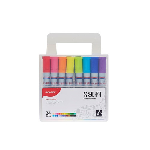 Monami Oil-based Markers Set Permanent Marker Pen 24 Color Square Tip Nips 2mm