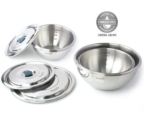Greenkeeps One Touch High Quality Stainless Steel Storage (Mixing Bowl) Airtight Food Container  with Lid
