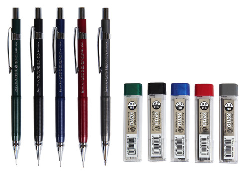 Xeno Beyond Style Mechanical Sharp Pencil + Leads Refills HB (0.3/0.5/0.7/0.9/1.3 mm