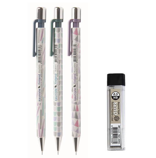Xeno Kauniste Finland 0.5mm Mechanical Pencil 3 pcs with Lead tube