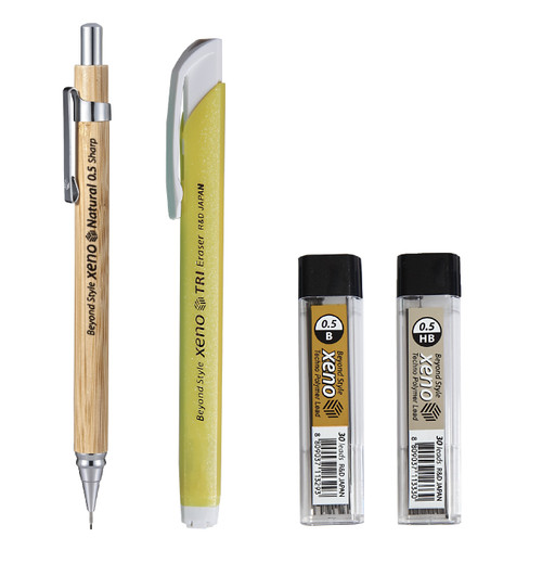Xeno High Quality Natural Bamboo Body Mechanical Pencil with Leads, Eraser SET