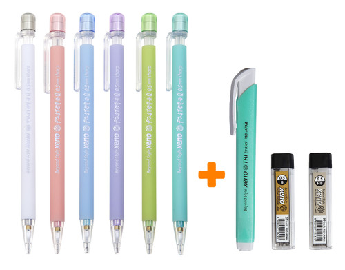 Xeno Pastel Q Rubber Barrel 0.5mm Mechanical Pencil with Leads, Eraser SET,