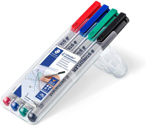 Staedtler Lumograph Non-Permanent Wet Erase Marker Pen, Super Fine Tip Low Oder Colored Markers