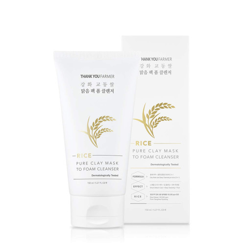 Thankyou Farmer Rice Pure Clay Mask To Foam Cleanser Korean Rice Extracts 100,000ppm