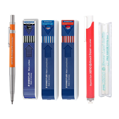Xeno Promate Lead Holder Pen Mechanical Pencil with Staedtler Mars Carbon Lead 12 x 2mm 200-HB, 204-3(Blue), 204-2(Red), Eraser + 2pcs Refills SET