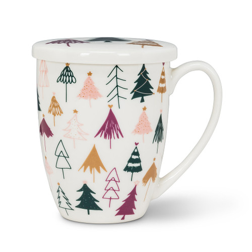 Abbott Wintry Trees Covered Mug & Strainer, 3 Pieces