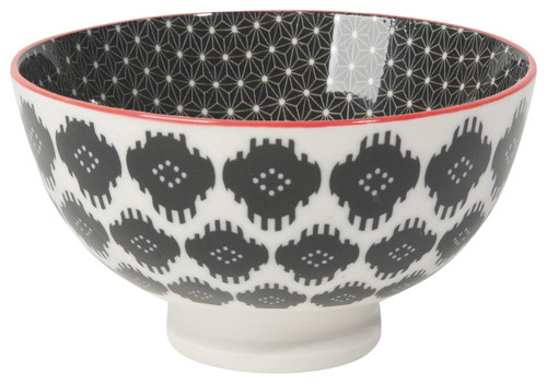 "4"" Stamped Bowl, Black Ikat"