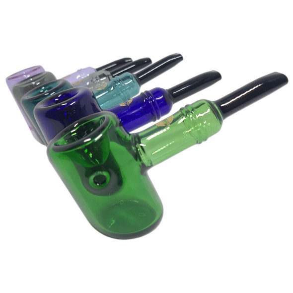 On Point Glass - Color Black Tip Sherlock Hand Pipe [GP-15] (MSRP $44.99)