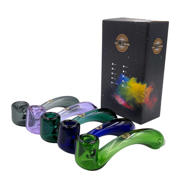 On Point Glass - Color Tube Bent Sherlock Hand Pipe [GP-18] (MSRP $24.99)