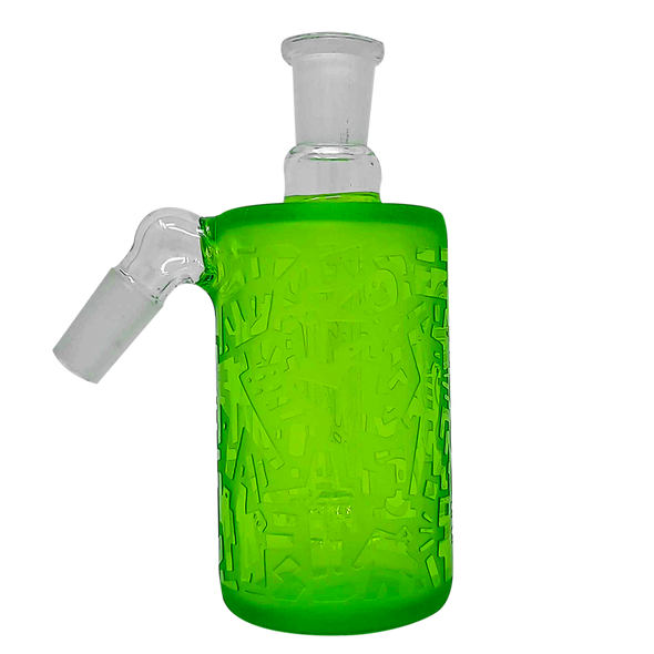 Cheech Glass - Ash Catcher 14 Male 45 Degree-Frosted Green Etched Work [CHB-12-1] (MSRP $89.99)