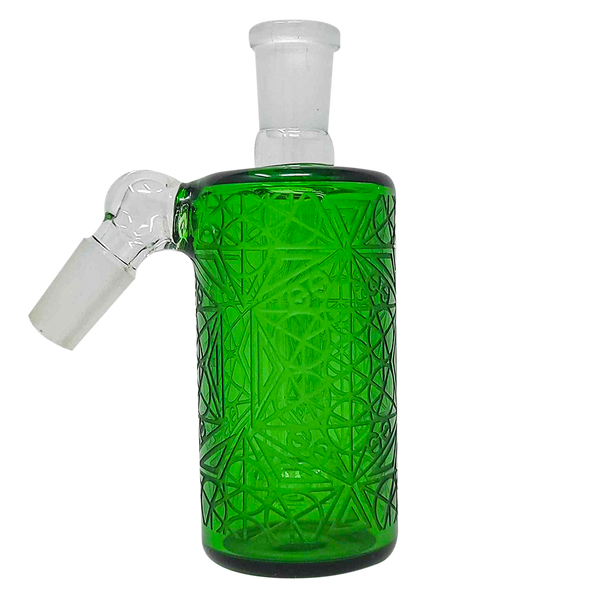 Cheech Glass - Ash Catcher 14 Male 45 Degree-Frosted Green Etched Work [CHB-13-1] (MSRP $89.99)