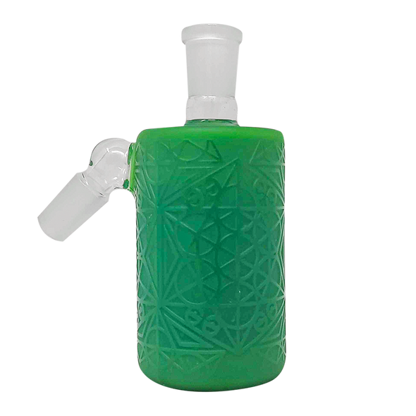 Cheech Glass - Ash Catcher 14 Male 45 Degree-Solid Milky Green Frosted Etched Work [CHB-8-2] (MSRP $89.99)