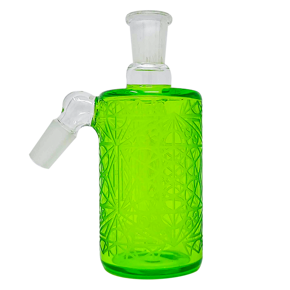 Cheech Glass - Ash Catcher 14 Male 45 Degree-Clear Green Etched Work [CHB-12-2] (MSRP $79.99)