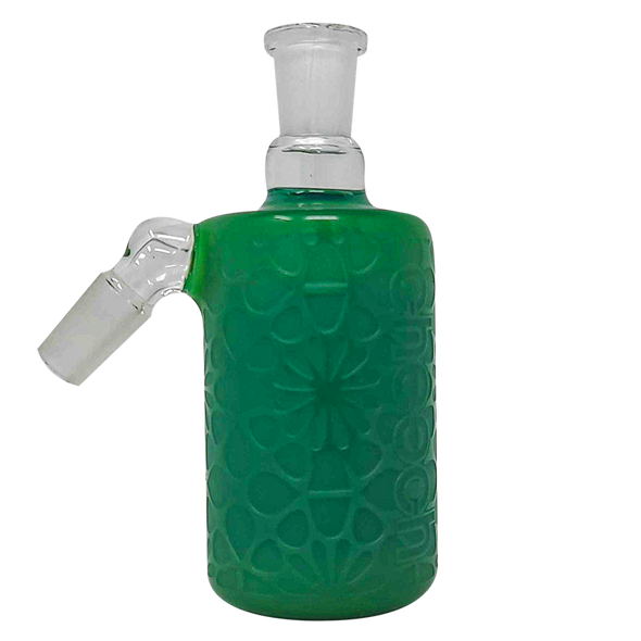 Cheech Glass - Ash Catcher 14 Male 45 Degree-Solid Milky Green Clear Etched Work [CHB-8-1] (MSRP $69.95)