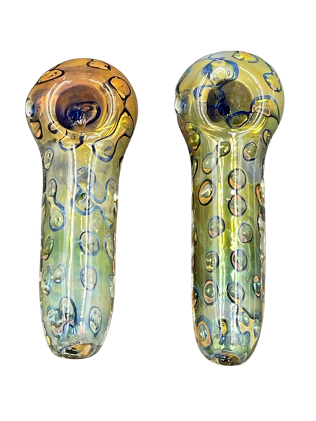 """4.5"""" Double Tube Air Trap Dot Art Heavy Hand Pipe [RKP180] (MSRP $19.99)"""