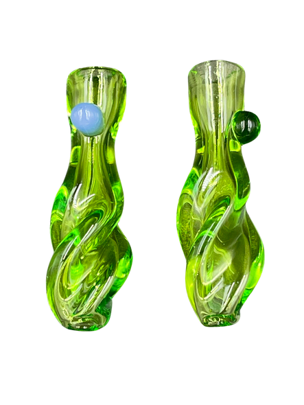 """3"""" Clear Slyme Green Tube Twisted Body Chillum 2-Pk [RKP184] (MSRP $ 14.99)"""