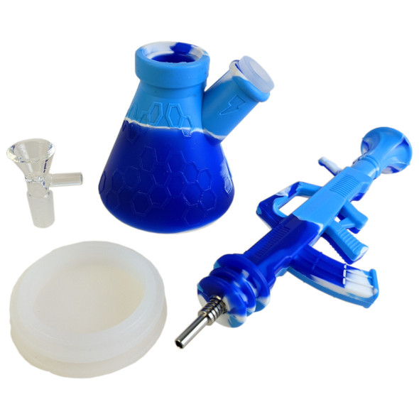 """11"""" Silicone Mixed Color 2in1 Rifle Beaker Water Pipe With Tip [SWP139] (MSRP $29.99)"""