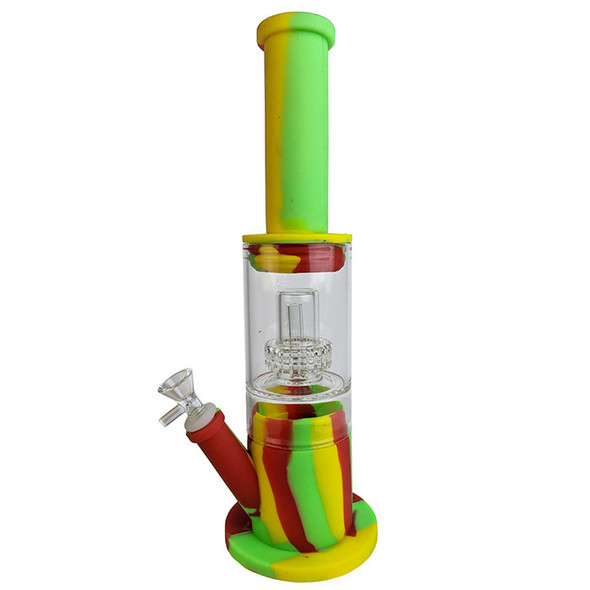 """14"""" Silicone Glass Mid Water Pipe [SWP070] (MSRP $74.99)"""