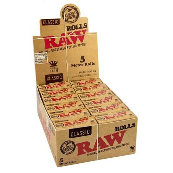 RAW - Rolls Classic King Size Slim Rolling Paper 16FT (Display of 24) (MSRP $69.99)