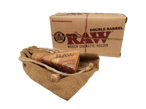 RAW - Double Barrel Cig Holder Wooden Sold Individually-Option 1 (MSRP $19.99)