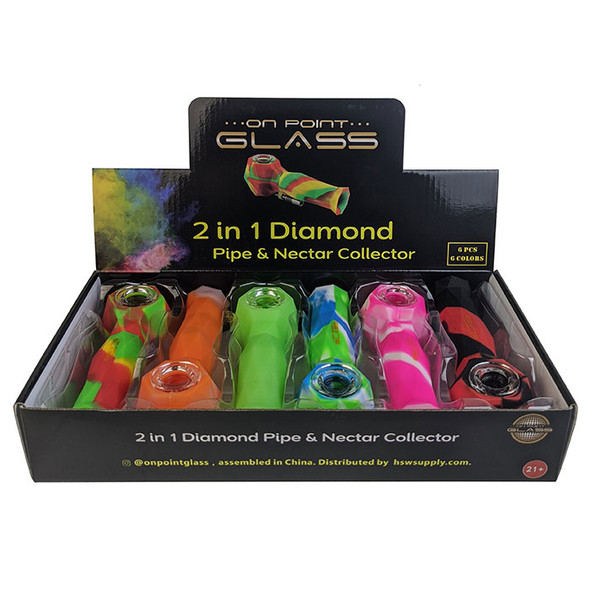 On Point Glass - Diamond 2in1 Hand Pipe Nector Collector 10MM (Pack of 6) [2in1-Diamond-HP-NC-6pk] (MSRP $124.99)