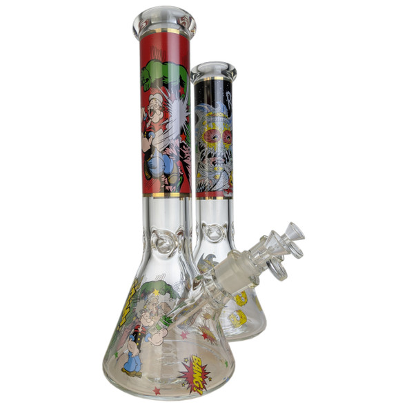 """14"""" Decal Work Beaker Water Pipe 14MM Female - Strong Guys [MG-06] [DYJ-X] [WF-689] [WPB-34] (MSRP $69.99)"""