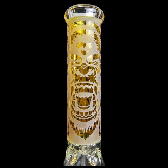 """Clover - 14"""" Etched Gorilla Beaker Water Pipe 14MM Female [WPB-334] (MSRP $89.99)"""