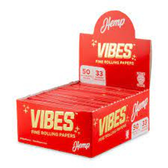 Vibes Hemp King Size Paper-50CT (RED) (MSRP $109.99)