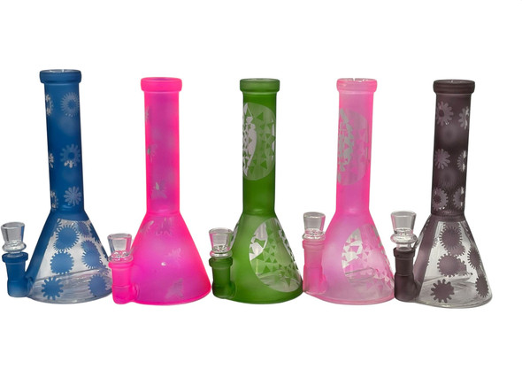 """8"""" Color Frosted Art Glow In Dark Water Pipe - Assorted Colors [SDK390] (MSRP $ 29.99)"""