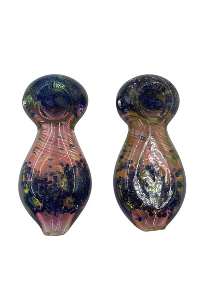"""4.5"""" Heavy Gold Fumed Flat Body Art Hand Pipe Hand Pipe (Pack of 2) [GWRKP102] (MSRP $19.99)"""