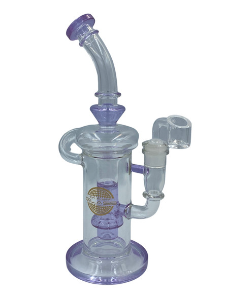 """On Point Glass - 10.5"""" ShowerH Perc Recycler Water Pipe 14MM Female - GW [CZS-JA415] (MSRP $91.99)"""