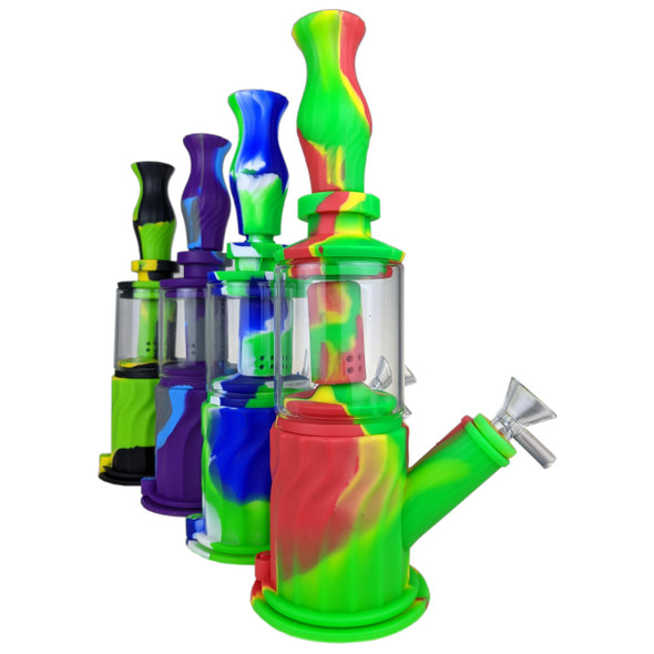 """11"""" Silicone 4in1 Water Pipe Set [SWP246] (MSRP $49.99)"""