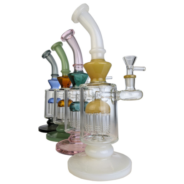 """10.5"""" Double Color Tree Perc BangerH Water Pipe 14MM Female [WF-128] (MSRP $129.99)"""
