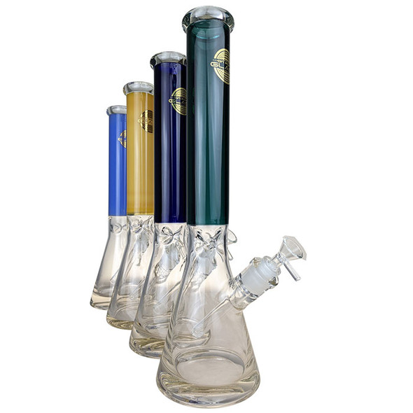 """On Point Glass - 16"""" Colored Neck ThickB Beaker Water Pipe 14MM Female - [JA-423] (MSRP $109.99)"""