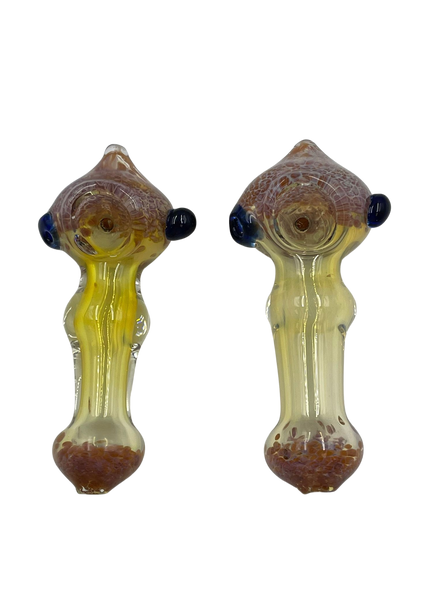 """3.5"""" Frit Art Head/Mouth Fat Body Hand Pipe (Pack of 2) [SDK424] (MSRP $9.99)"""