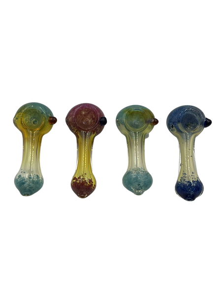 """3.5"""" Frit Art Head/Mouth Silver Fumed Hand Pipe (Pack of 2) [SDK429] (MSRP $9.99)"""