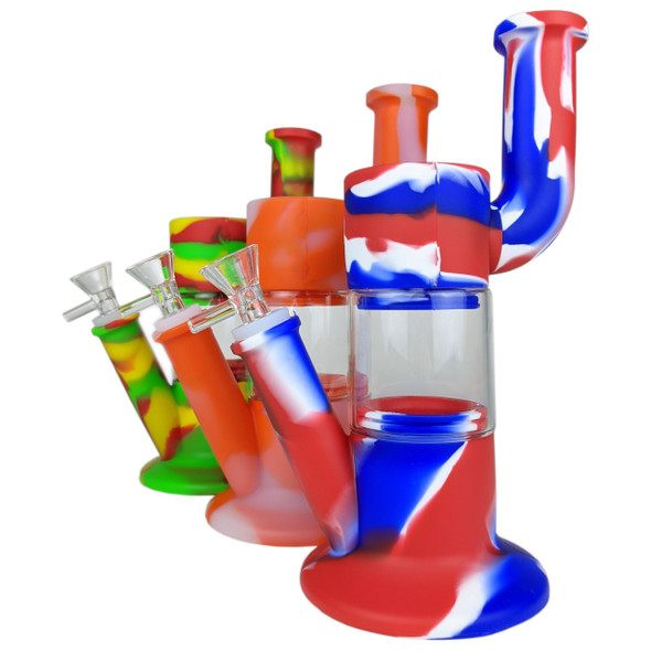 """11"""" Silicone Bendable Neck Glass Perc Water Pipe 14MM Female [SWP226] (MSRP $34.99)"""