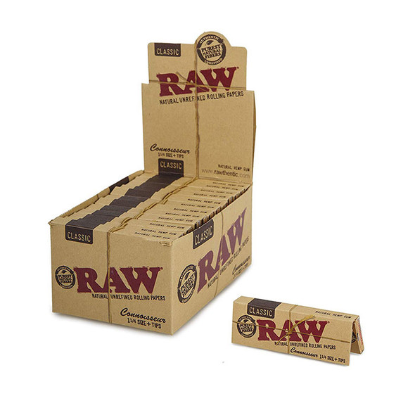 RAW - Connoisseur  Classic 1 ¼  With Tips (Box of 24) (MSRP $61.99)