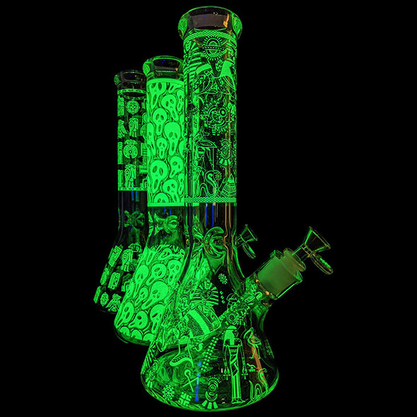 """14"""" GITD Decal Beaker Water Pipe 14MM Female W Matching Bowl DS - [CZS-716] (MSRP $74.99)"""