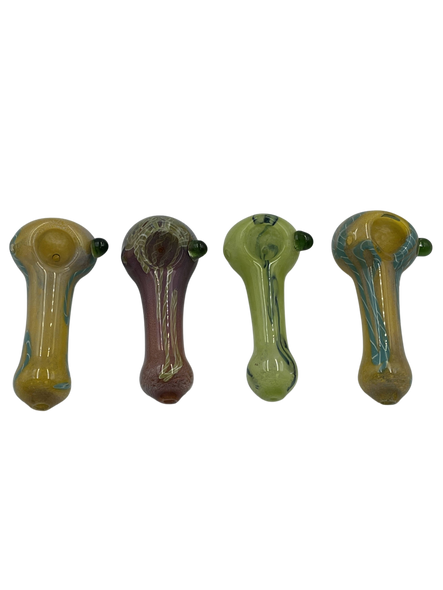 """3.25"""" Twisted Rod & Frit Art Hand Pipe (Pack of 2) [SDK465] (MSRP $9.99)"""