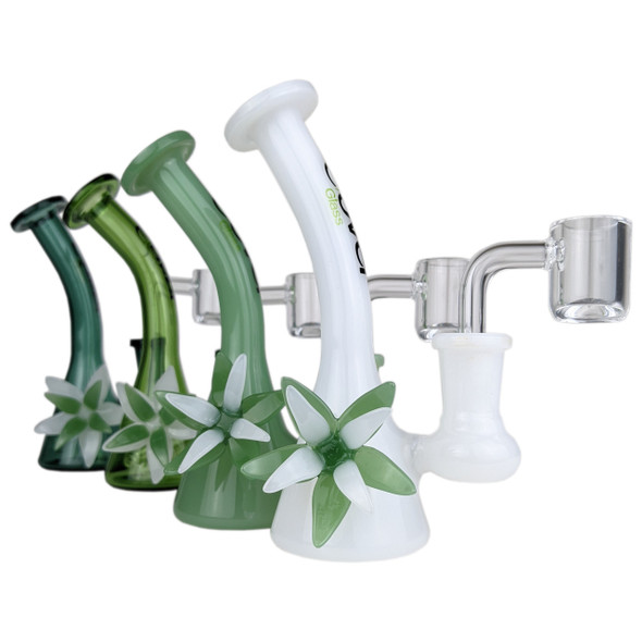 """Clover - 5"""" Colored Flower MiniR Water Pipe 14MM Female - [WPE-105] (MSRP $49.99)"""