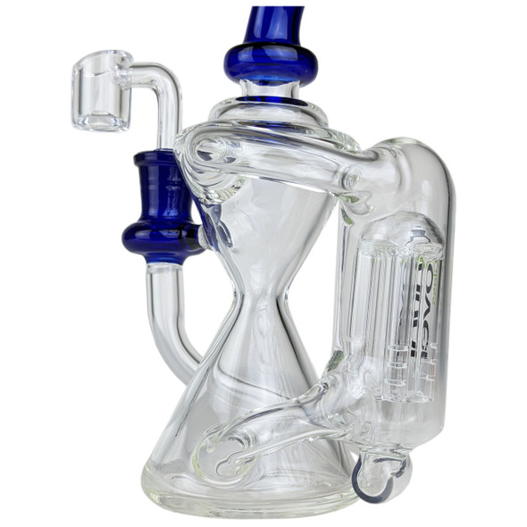 """Clover - 7"""" ColorT Hourglass Recycler Water Pipe 14MM Female - [WPE-336] (MSRP $74.99)"""
