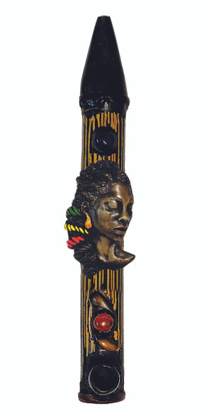 Rasta Guy Peace Pipe Natural Bull Horn & Bamboo Hand Crafted Pipe [PEACE-1] (MSRP $ 29.99)